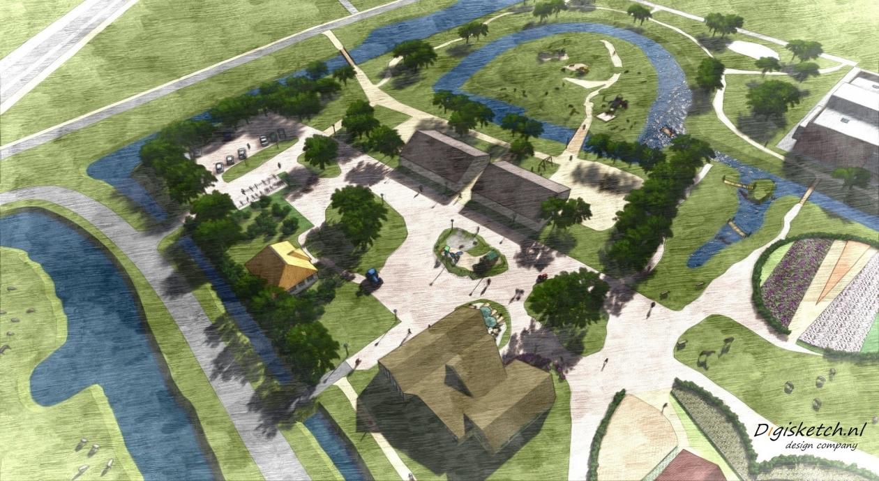Impressie van het toekomstige park met dierenweide, tuinen, speeltuinen en nieuw gebouw met horeca en ontmoetingsruimten