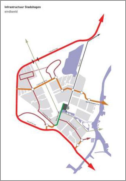 Eindbeeld infrastructuur Stadshagen, uit het rapport verkeersvisie Stadshagen