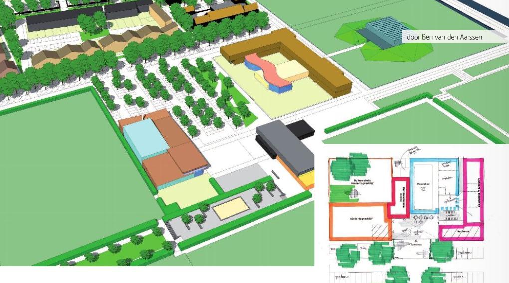 Eerdere schets van sportpark De Verbinding met het nieuwe zwembad
