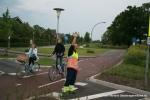Verkeersregelaars en camera's bij fietsoversteek